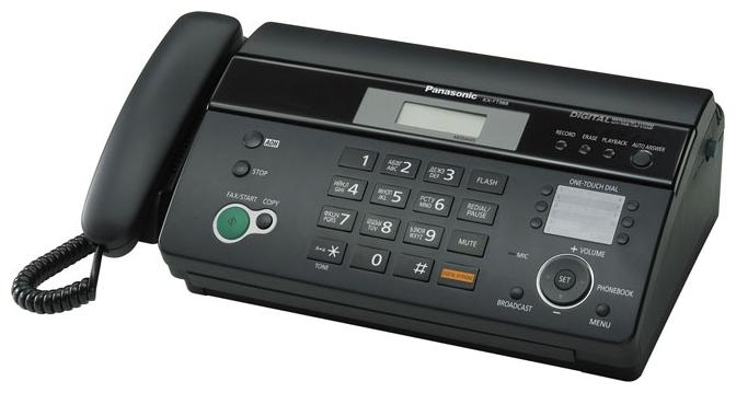 Факс Panasonic имильный аппарат на термобумаге/ Дисплей - есть, АОН - есть, цвет - черный KX-FT988RU-B