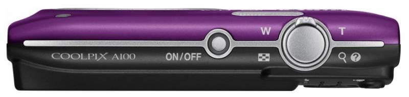 "Фотокамера NIKON Фотоаппарат CoolPix A100 фиолетовый/рисунок 20.1Mpix Zoom5x 2.7"" 720p 25Mb SDXC CCD 1x2.3 IS el 10minF/EN-EL19 VNA974E1"